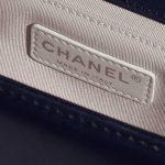Chanel Boy Old Medium Lamb Blue Dark blue Logo | Sell your designer bag on Saclab.com