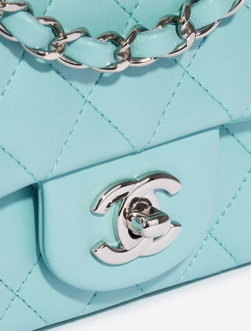 Chanel Timeless Mini Rectangular Lamb Tiffany Blue Blue, Turquoise Closing System | Sell your designer bag on Saclab.com