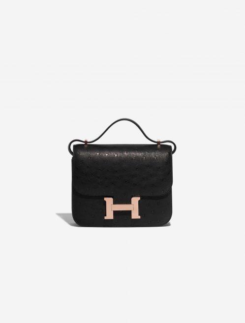 Hermès Constance 18 Ostrich Black Black Front | Sell your designer bag on Saclab.com