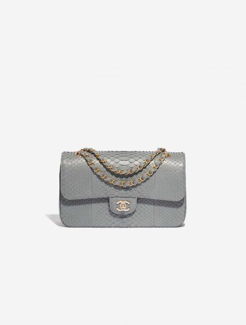 Chanel Timeless Medium Python Grey / Diamonds Gray Front | Sell your designer bag on Saclab.com