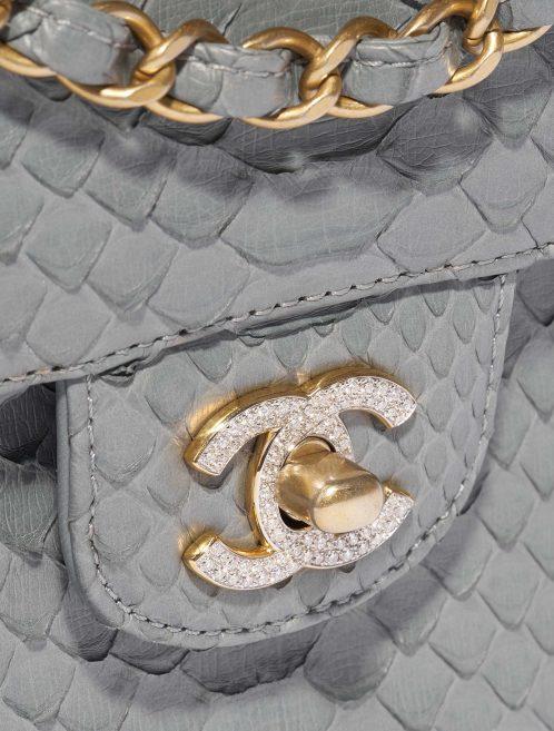 Chanel Timeless Medium Python Grey / Diamonds Gray Closing System | Sell your designer bag on Saclab.com