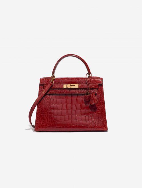 Hermès Kelly 28 Alligator Rouge Vif Red Front   Sell your designer bag on Saclab.com