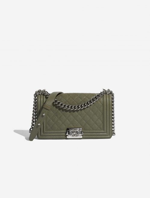 Chanel Boy Old Medium Caviar Khaki Green Front | Sell your designer bag on Saclab.com