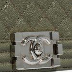 Chanel Boy Old Medium Caviar Khaki Green Closing System   Sell your designer bag on Saclab.com