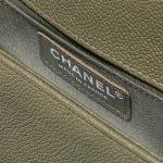 Chanel Boy Old Medium Caviar Khaki Green Logo   Sell your designer bag on Saclab.com
