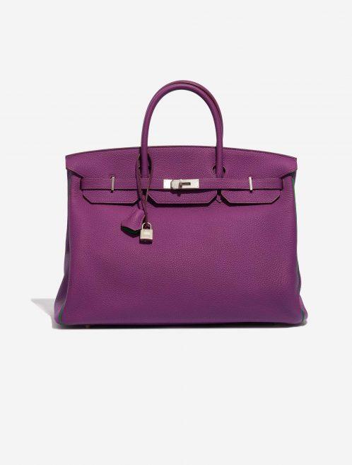Hermès Birkin 40 HSS Togo Anemone / Bamboo Green, Violet Front | Sell your designer bag on Saclab.com