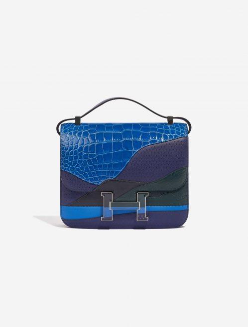 Hermès Constance 24 Endless Road Swift / Alligator / Lizard Blue Encre / Blue Zellige / Vert Cypress / Blue Nuit Blue, Dark blue, Green Front | Sell your designer bag on Saclab.com