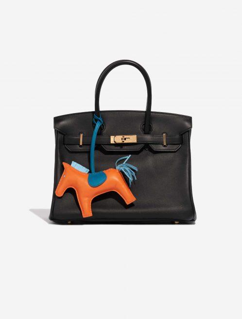 Hermès Rodeo GM Milo Lamb Feu / Bleu Aztec / Bleu Mykonos Blue, Dark blue, Orange Front | Sell your designer bag on Saclab.com