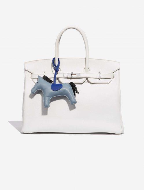 Hermès Rodeo GM Milo Lamb Blue Jean / Black / Blue Electrique Black, Blue, Dark blue Front | Sell your designer bag on Saclab.com