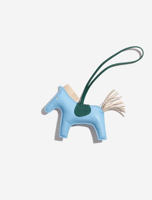 Hermès Rodeo MM Milo Lamb Bleu Céleste / Craie / Malachite Blue, Green, Natural Front | Sell your designer bag on Saclab.com