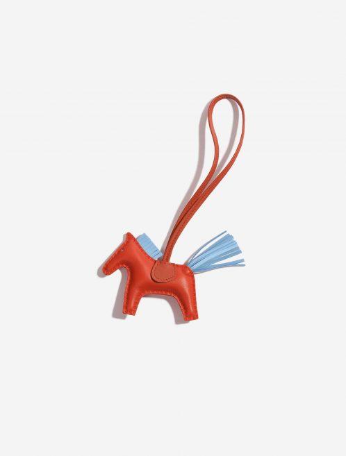 Hermès Rodeo PM Milo Lamb Rouge Casaque / Bleu Céleste / Fauve Blue, Orange, Red Front | Sell your designer bag on Saclab.com