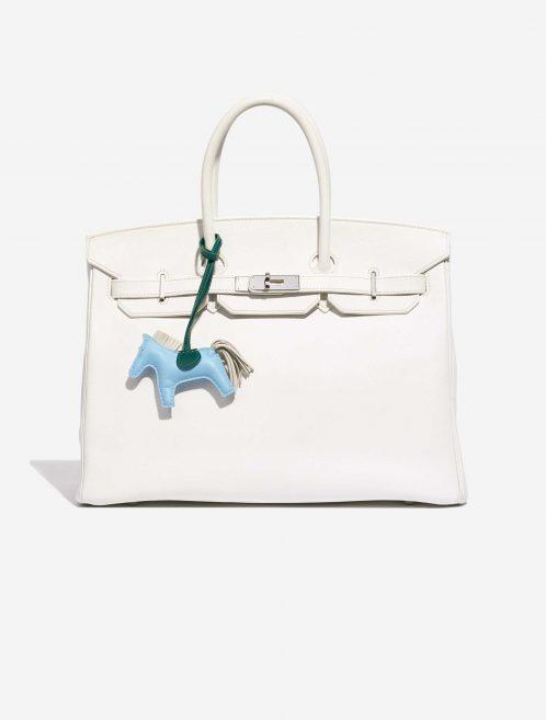 Hermès Rodeo PM Milo Lamb Bleu Céleste / Beton / Malachite Blue, Green, Natural Front | Sell your designer bag on Saclab.com