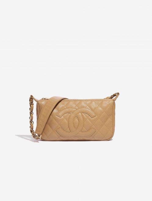 Chanel Vintage Crossbody Caviar Beige Natural Front | Sell your designer bag on Saclab.com