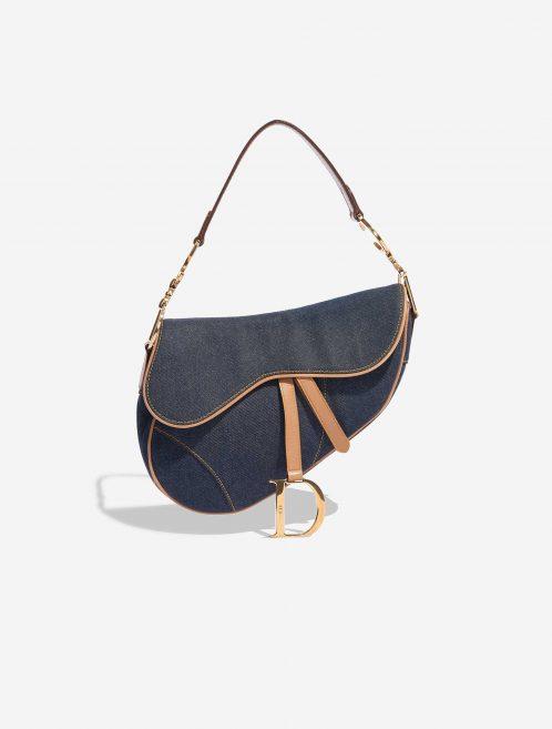 Dior Saddle Medium Leather Denim Blue Blue, Dark blue, Natural Front   Sell your designer bag on Saclab.com