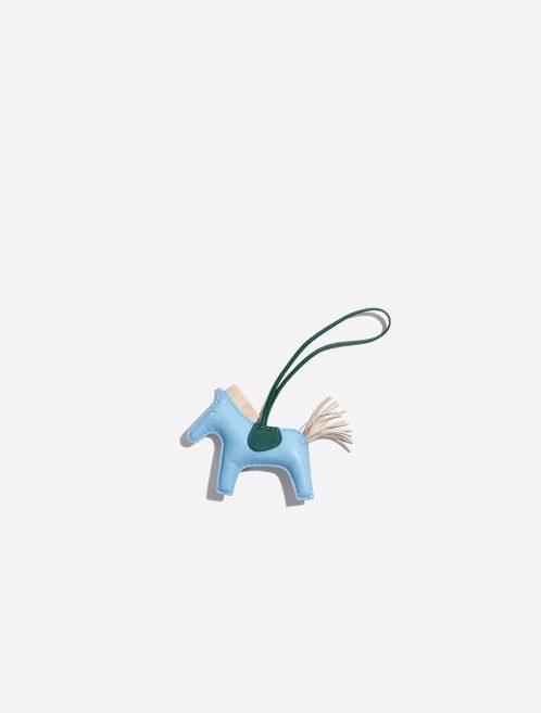 Hermès Rodeo MM Milo Lamb Bleu Céleste / Beton / Malachite Blue, Green, Natural Front | Sell your designer bag on Saclab.com