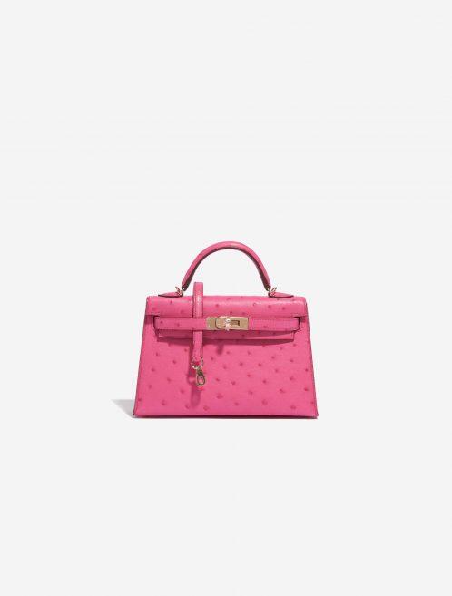 Hermès Kelly Mini HSS Ostrich Rose Fuchsia / Beige de Weimar Rose, Pink Front | Sell your designer bag on Saclab.com