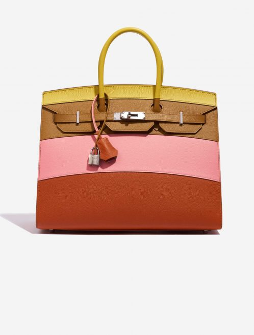 Hermès Birkin 35 Sunrise Rainbow Epsom Lime / Rose Confetti / Sesame / Terre Battue Rose, Brown, Multicolour, Pink, Red, Yellow Front | Sell your designer bag on Saclab.com