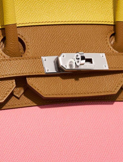 Hermès Birkin 35 Sunrise Rainbow Epsom Lime / Rose Confetti / Sesame / Terre Battue Rose, Brown, Multicolour, Pink, Red, Yellow Logo | Sell your designer bag on Saclab.com