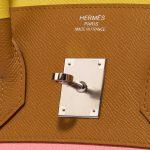Hermès Birkin 35 Sunrise Rainbow Epsom Lime / Rose Confetti / Sesame / Terre Battue Rose, Brown, Multicolour, Pink, Red, Yellow  | Sell your designer bag on Saclab.com