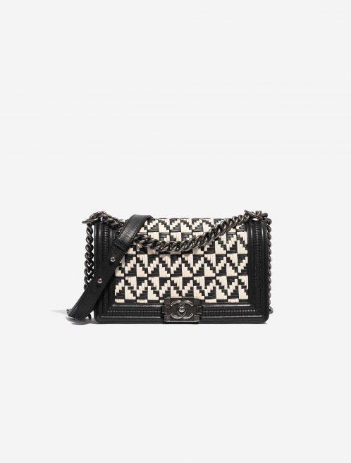 Chanel Boy Old Medium Lamb Black / White Black, White Front | Sell your designer bag on Saclab.com