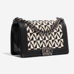 Chanel Boy Old Medium Lamb Black / White Black, White Side Front | Sell your designer bag on Saclab.com