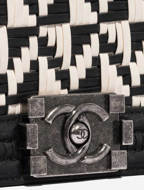Chanel Boy Old Medium Lamb Black / White Black, White Closing System | Sell your designer bag on Saclab.com