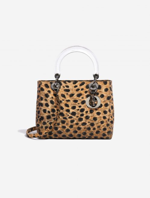 Dior Lady Medium Fabric / PVC Leopard Black, Brown, Multicolour Front | Sell your designer bag on Saclab.com