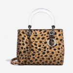 Dior Lady Medium Fabric / PVC Leopard Black, Brown, Multicolour Front   Sell your designer bag on Saclab.com
