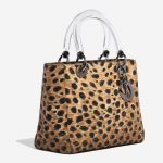 Dior Lady Medium Fabric / PVC Leopard Black, Brown, Multicolour Side Front   Sell your designer bag on Saclab.com