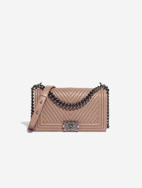 Chanel Boy New Medium Lamb Ash Rose Rose Front | Sell your designer bag on Saclab.com