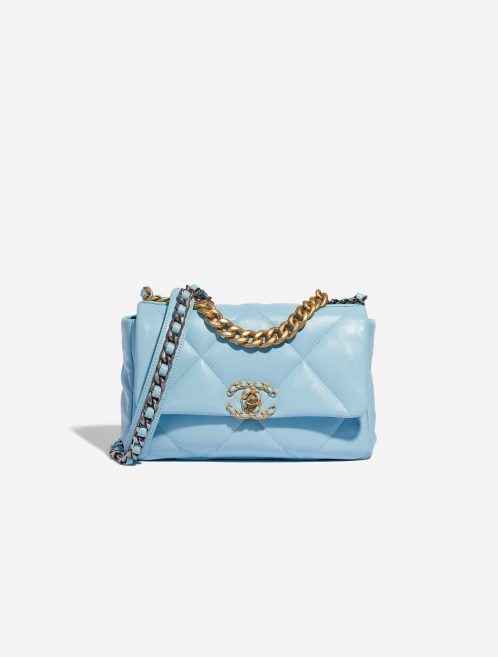 Chanel 19 Flap Bag Lamb Sky Blue Blue Front | Sell your designer bag on Saclab.com