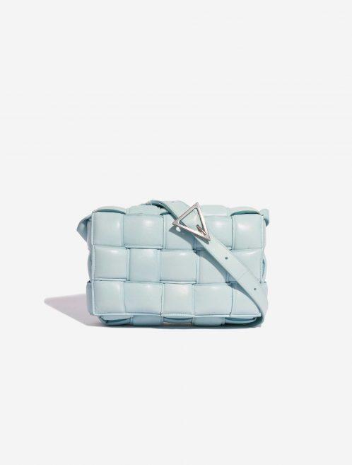 Bottega Veneta Cassette Medium Calf Topaz Blue Front | Sell your designer bag on Saclab.com
