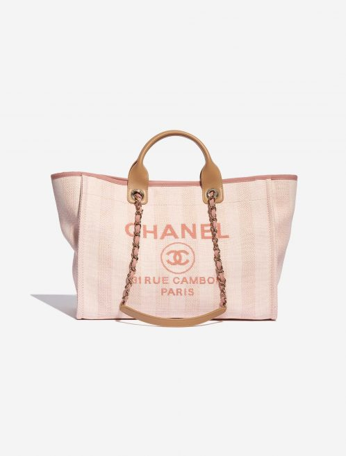 Chanel Deauville Medium Canvas Pink Rose, Pink Front | Sell your designer bag on Saclab.com