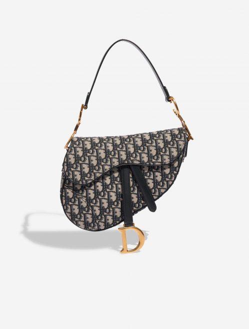 Dior Saddle Medium Oblique Jacquard Blue Black, Blue, Natural Front   Sell your designer bag on Saclab.com